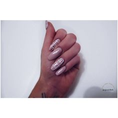 Nude X Stripes Nail Set, Stiletto nails, Coffin nails, Almond nails,... ($19) ❤ liked on Polyvore featuring beauty products and nail care