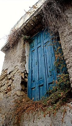 Old Blue Wood Door ~ Old Plaka District, Athens-Greece