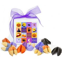 party-ready or a great gift to send someone...12 chocolate dipped fortune cookies with Halloween greetings inside.