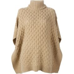 Michael Michael Kors Cable Knit Poncho Sweater ($180) ❤ liked on Polyvore featuring tops, sweaters, capes, cardigans, poncho, cable knit poncho sweater, brown tops, poncho sweater, cable sweater and poncho style sweater