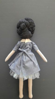 Coco, handmade doll, art doll, girls room decor, gift for girls, French embroidery  Cocos dress is fastened with small metal snap button and waist ribbon.  Beautiful and unique handmade doll collection by Mini bliss  May not be appropriate for children under 3 years old.  --linen body --wool hair --linen dress with French embroidery decoration --tulle underskirt attached --polyester fiberfill --eyes, nose and lips hand embroidered  --approximately 14.5 (37cm) inches tall  --spot clean as…