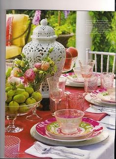 Pink Depression Glass with Bright Colors - Mine is Pink Victory from my Grandmother.  Great for baby and bridal showers!