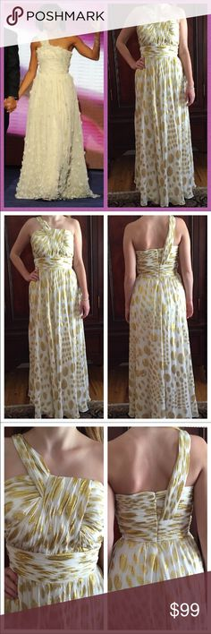 """NWOT Aidan Mattox Silk Strapless Gown. Size 6/8 NWOT Aidan Mattox Silk Strapless Gown. Size 6:8. This dress says size 12 but it runs small. Mode is a size 6 and it was just a little bit too big on her. Please go by measurements:  bust: 17"""" measured flat across front. Waist: Aidan Mattox Dresses Maxi"""