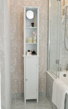 tall white shaker style bathroom cabinet free standing amazoncouk - Tall Bathroom Cabinets Uk
