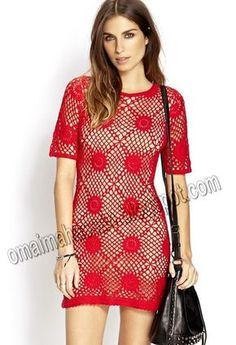 crochet kingdom (E.H): Free Spirit Red Crochet Dress !