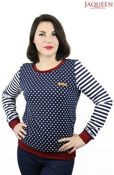 Sweatshirts - Pullover blau Punkte und Streifen - ein Designerstück von JAQUEEN-handmade-streetwear-berlin bei DaWanda