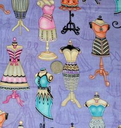 Cotton Fabric By the Yard Dressmakers Form Lil Miss by Quiltwear, $10.25