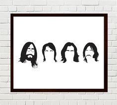 $13.61 for 8x10. Beatles Art, The Beatles, Beatles Print, Beatles Silhouettes, The Beatles minimalist portraits