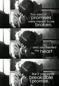 i don't want to break promise i made 😶 Sad Anime Quotes, Manga Quotes, Dark Quotes, Some Quotes, Sweat Quotes, Normal Quotes, Haruhi Suzumiya, Depression Quotes, Anime Life