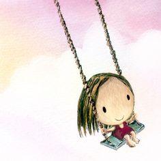 morning swing kawaii art print cute girl swings by TummyMountain