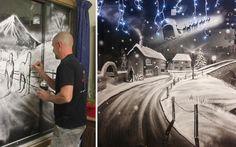 Artist Creates Magical Winter Scenes On Windows Using Snow Spray http://designwrld.com/artist-creates-magical-winter-scenes-on-windows-using-snow-spray/