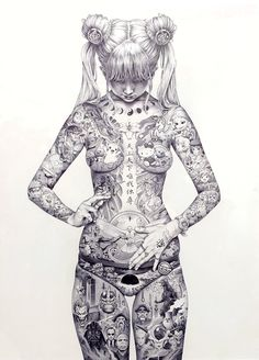 """""""Play-Station"""" artist Shohei creates dauntingly dense and bold ballpoint pen drawings. He happens to be the son of Katsuhiro Otomo, the creator of Akira, and goes only by his first nam Evelynn League Of Legends, Arte Alien, Katsuhiro Otomo, Ballpoint Pen Drawing, Black Pen Drawing, Consumer Culture, Anime Tattoos, Tatoos, Erotic Art"""