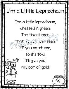 I'm a Little Leprechaun - Poem for Kids ~ St. Patricks Day