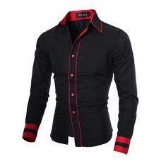Para hombre vestido de corte ajustado manga larga camisa casual de negocios…
