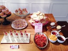 Biscuit bar for brunch. This was for a couple's bridal shower and included parfaits and a donut tower.