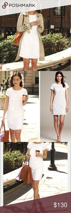 Banana Republic White Eyelet Shift Dress EUC. 1 button keyhole closure on the back. Perfect Spring dress as seen on Jamie Chung. Fast shipping. Thank you for shopping and supporting my closet! Banana Republic Dresses