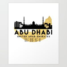 ABU DHABI UNITED ARAB EMIRATES SILHOUETTE SKYLINE MAP - The beautiful silhouette skyline of Abu Dhabi and the great map of United Arab Emirates in gold, with the exact coordinates of Abu Dhabi make up this amazing art piece. A great gift for anybody that has love for this city. graphic-design digital typography illustration vector abu-dhabi united-arab-emirates uae downtown silhouette skyline map coordinates souvenir gold