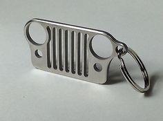 Jeep Grill Stainless Steel Keychain Key Chain - Car Key Ring for Jeep Wrangler CJ JK TJ YJ XJ