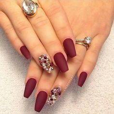 Matte merlot with gemstones