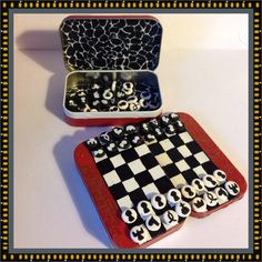 Altoids tin chess set. I don't actually play chess, but you could do checkers also.  A great travel idea.