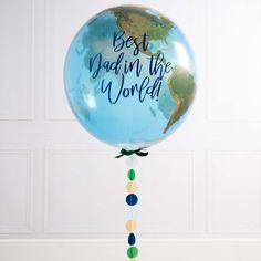 Personalised Father's Day Globe Balloon by Bubblegum Balloons, the perfect gift for Explore more unique gifts in our curated marketplace. Unicorn Balloon, One Balloon, Balloon Flowers, Balloon Wall, Balloons Galore, Mini Balloons, Helium Balloons, Foil Balloons, Graduation Balloons