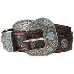 M&F Western Nocona Embossed Wash Rihinstone Concho Belt (Tan/Blue) Women's Belts Cowgirl Tuff Jeans, Cowgirl Belts, Western Belts, Western Wear, Cowboy Boots, Tan Leather Belt, Tan Belt, Leather Buckle, Brown Belt