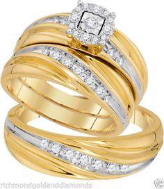 Yellow Gold His Her Men Woman Diamond Wedding Ring Bands Trio Set (0.43ct. tw)- RG321318077576