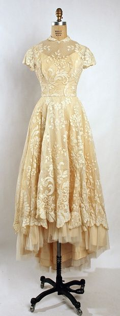 Silk lace wedding ensemble (dress and cap with veil), by Gaston of Murray Hamburger, American, 1955. by ophelia