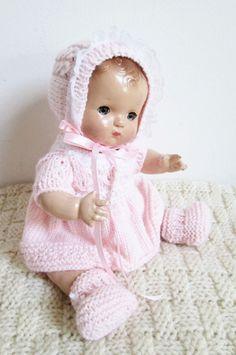 Fits Effanbee Patsy Baby, hand knit 5 piece dress set Princess bonnet pale peach in Dolls & Bears, Dolls, By Material | eBay