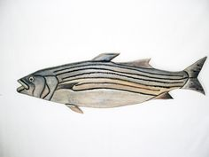 Striped Bass Fish Man Cave Wood Sculpture by Galleryatkingston, $70.00