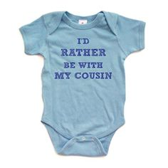 Apericots Id Rather Be With My Cousin with Bold Font Short Sleeve Baby Bodysuit 12 Months Light Blue -- You can get more details by clicking on the image.Note:It is affiliate link to Amazon.