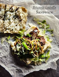 """Simply amazing Korean recipe fusion for Bulgogi Ciabatta Bread Sandwich.Bulgogi is """"one"""" my favorite Korean dishes. It's really hard for me to pick favorite among many, but my love for grilled food is well known. Bulgogi, Grilling Recipes, Beef Recipes, Korean Recipes, Korean Food, Ciabatta, Hawaiian Dishes, Marinated Beef, Cooking Ingredients"""