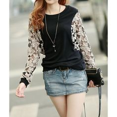 Trendy Style Jewel Neck Lace Splicing Slimming Long Sleeve Women's T-Shirt