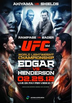 Relive the UFC's return to Japan with the official UFC Edgar vs. Henderson Poster featuring Frankie Edgar, Ben Henderson, Yoshihiro Akiyama, Jake Shields, Rampage Jackson and Ryan Bader. Rampage Jackson, Ufc Events, Boxing Posters, Fight Night, Mixed Martial Arts, World Championship, Photomontage, Muay Thai, Deporte