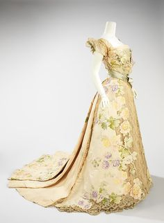 Evening dress (image 2)   House of Worth   French   1902   silk, rhinestones, metal   Brooklyn Museum Costume Collection at The Metropolitan Museum of Art   Accession Number: 2009.300.2009a, b