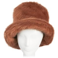 Preowned 1970s Mr. John Faux Fur Bucket Hat featuring polyvore, women's fashion, accessories, hats, brown, brown bucket hat, brown hat, fisherman hat, faux fur hat and bucket hats