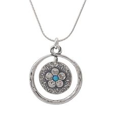 """Sterling Silver 3mm Blue Opal Pendant Necklace Flowers Engraving ,20"""""""