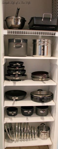 Kitchen Designs Ideas for Organizing Pots and Pans. >> Find out even more at the image - Tired of all your disorganized pots and pans? Get you kitchen organized easily with these 10 awesome tips for organizing pots and pans! They're so easy to implement!