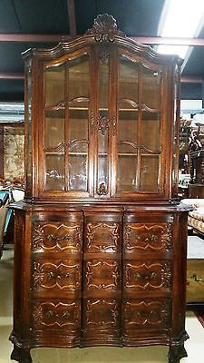 Antique-French-Provincial-Vitrine-or-Display-Cabinet-H-80-xW43-xD-21-3-drawers