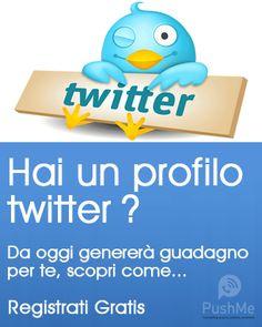 Trasforma i tuoi contatti Twitter in una fonte di reddito residuo per Te.... per sempre. PushMeGeneration#
