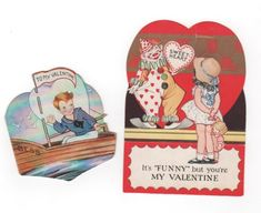 "Set of 2 vintage valentines. Boy in boat called ""Bess"", girl with clown folds to 3D scene. 1930s valentine collectible ephemera by PickleladyPapers on Etsy"