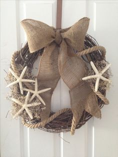 Burlap, rope, starfish summer beach wreath.  MLK                                                                                                                                                                                 More
