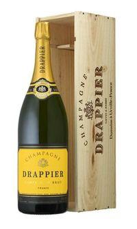 "MyGoodWines - Mathusalem de Champagne Drappier ""Carte d'Or"" Brut en coffret bois Champagne, Bottle, Wine Gift Sets, Flask"
