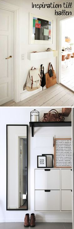 Low level bag and small person coat storage in the hallway w. storage bin above Hallway Inspiration, Interior Inspiration, Style At Home, Small Apartments, Small Spaces, Coat Storage, Halls, Hallway Storage, Entryway Hooks