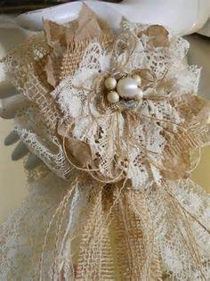 LACE AND BURLAP FLOWERS | Lace And Burlap Flower Bow For Weddings ... | Wedding ideas for Cryst ...