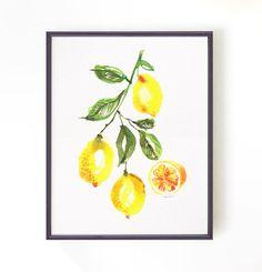 Kitchen art lemon tree watercolor painting, Lemon print, Botanical print, Yellow home decor, Fruit painting, 8x10 print Buy 2 Get 1 Free by colorZen on Etsy https://www.etsy.com/listing/194589575/kitchen-art-lemon-tree-watercolor