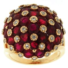 3.30 Cttw Round Brilliant Cut Diamonds and Ruby Cocktail Ring in 18k Yellow Gold by GetDiamondsDirect on Etsy