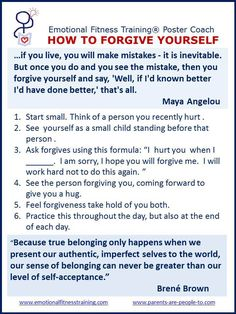 Improving Emotional Intelligence by practicing forgiveness.