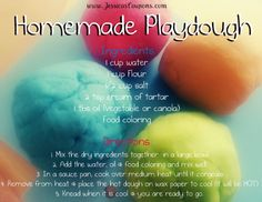 I originally posted this recipe this Summer….but I wanted to re-post…since schools are out tomorrow…and you may find yourself looking for activities to fill the day. Sure you can buy play dough…and I personally have no issue with the store-bought version…but sometimes it is just more fun to make something yourself…my 5 year old loves …