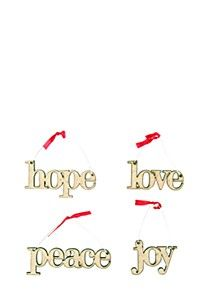 PACK OF 4 WOODEN WORDS CHRISTMAS DECORATIONS